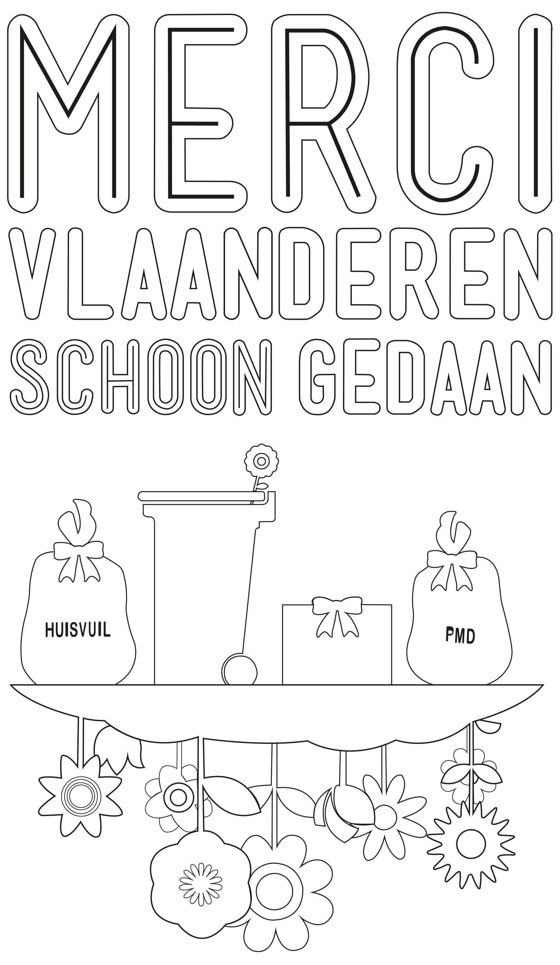 Tekening Merci Vlaanderen - Week van de Afvalophaler en recyclagewachter